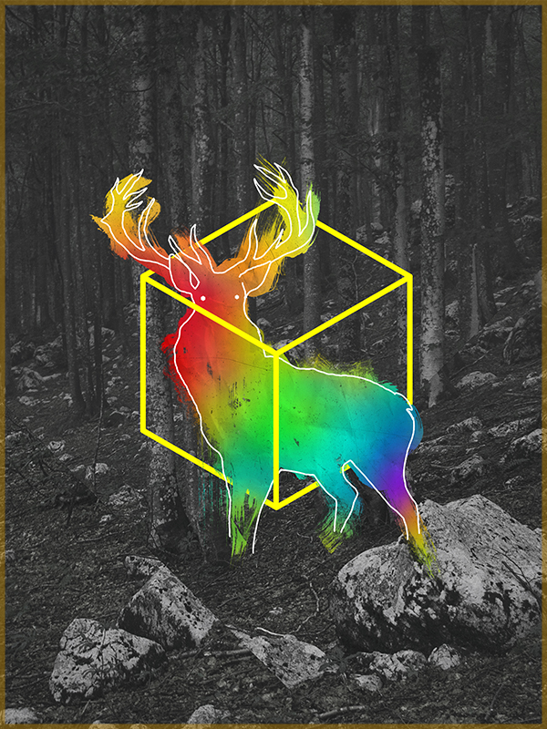 hirsch, stag, regenbogen, bunt, hexagon, hipster, digital art